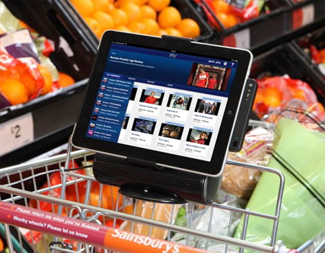 grocery cart iPad dock Sainsburys