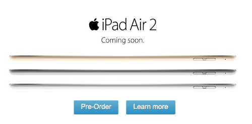 Ipad air 2 and ipad mini 3 now available for pre order the ipad