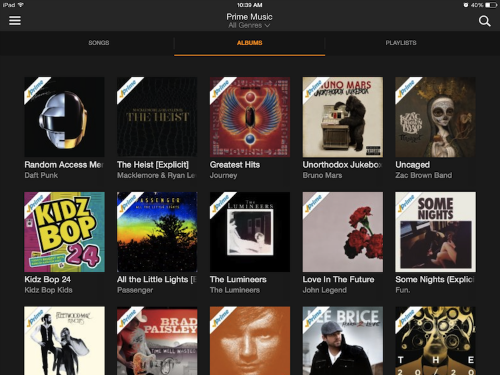 Amazon Prime Music iPad