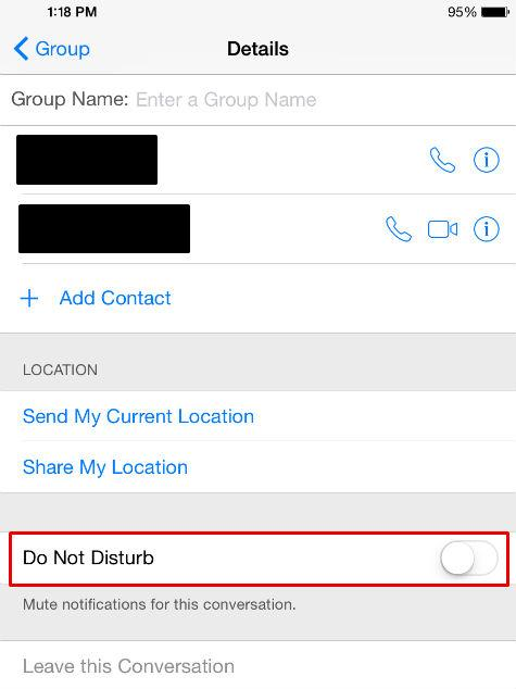 Turn on do not disturb for a text conversation with the Details settings.